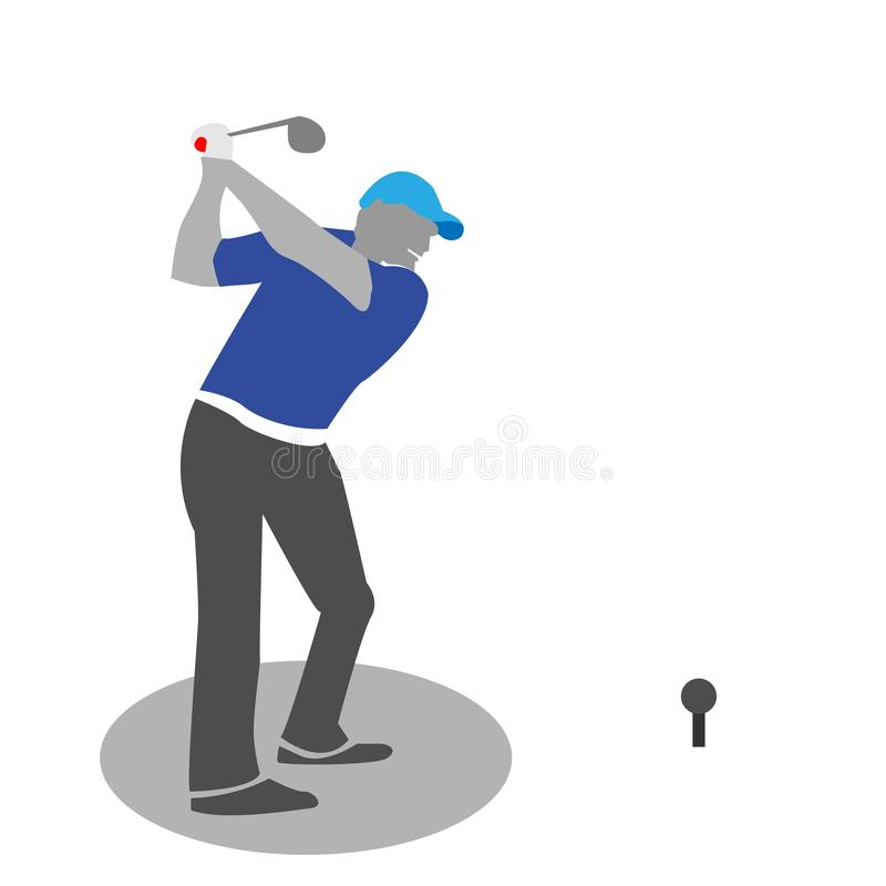 Man playing golf, isolated vector silhouette - Vector stock illustration