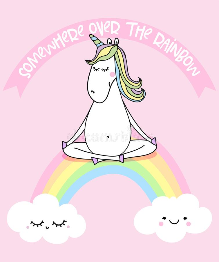 Somewhere over the rainbow - funny vector quotes and unicorn drawing. Lettering poster or t-shirt textile graphic design. / Cute unicorn character illustration royalty free illustration