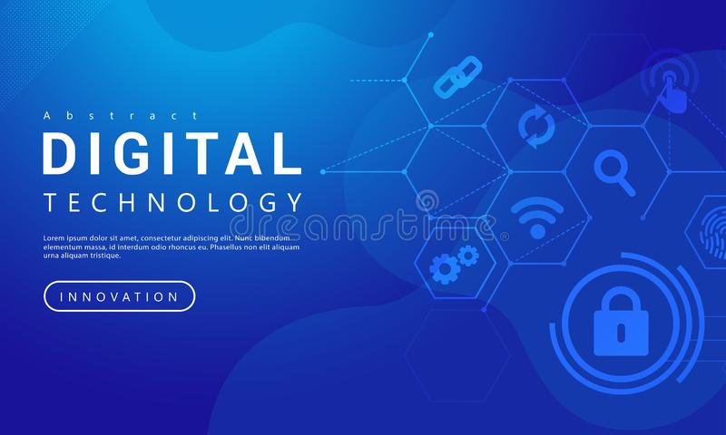 Abstract technology banner blue sky background concept with digital technology icons, blue background texture, illustration vector. For graphic design stock illustration