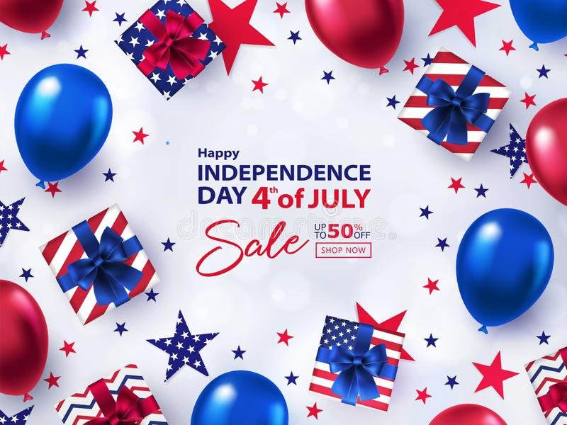 Fourth of July Sale banner. 4th of July holiday background with bright helium balloons, gift boxes, confetti stars. royalty free illustration