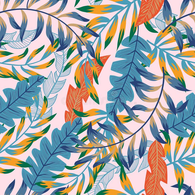 Trendy abstract seamless pattern with colorful tropical leaves and flowers on a gentle background. Vector design. Jungle print. Fl royalty free illustration