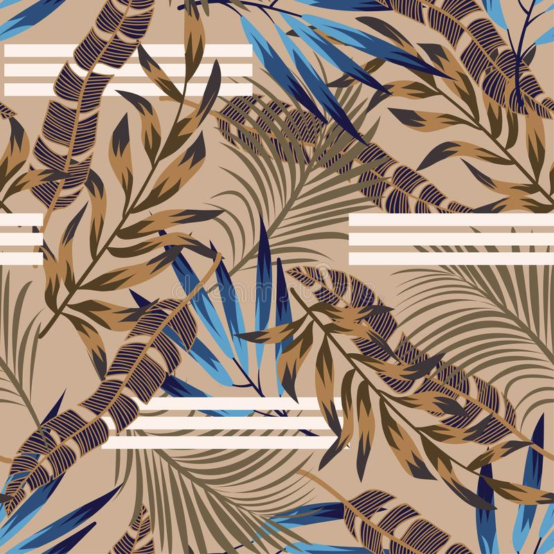 Original bright seamless pattern with colorful tropical leaves and plants on brown background. Vector design. Jungle print. Floral royalty free illustration