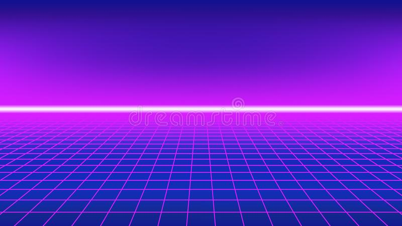 80s style background. Perspective grid with neon horizon line. Synthwave style background. Perspective ground grid with neon light horizon line vector illustration