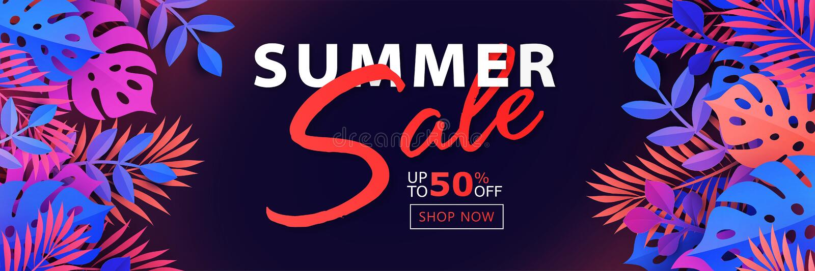 Summer Sale banner with exotic tropical leaf, plants and palm leaves on dark background vector illustration