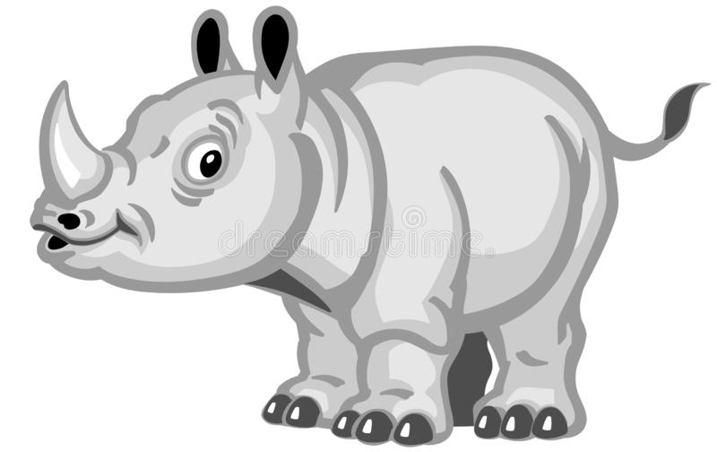 Standing cartoon baby rhino. Side view stock illustration