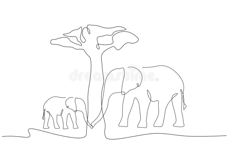 Elephants family near tree baobab, african landscapes line drawing vector stock illustration