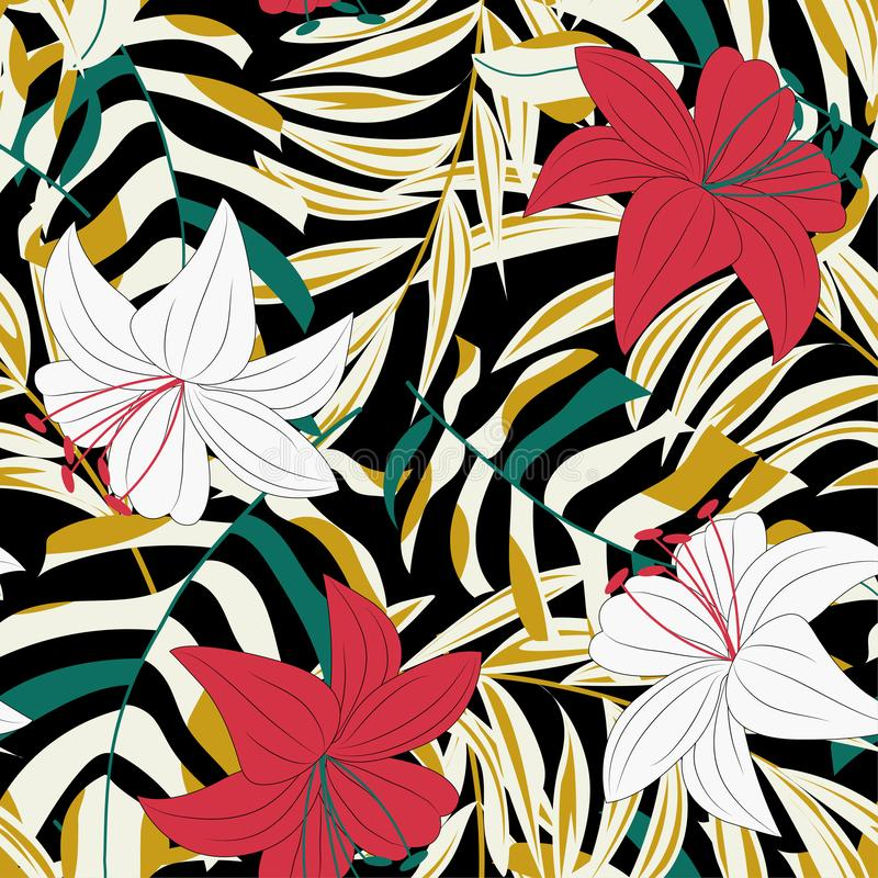 Trend abstract seamless pattern with colorful tropical leaves and plants. Vector design. Jungle print. Floral background. Printing. And textiles. Exotic tropics vector illustration