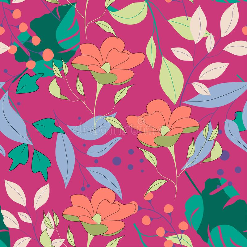 Trend abstract seamless pattern with colorful tropical leaves and plants. Vector design. Jungle print. Floral background. Printing. And textiles. Exotic tropics royalty free illustration