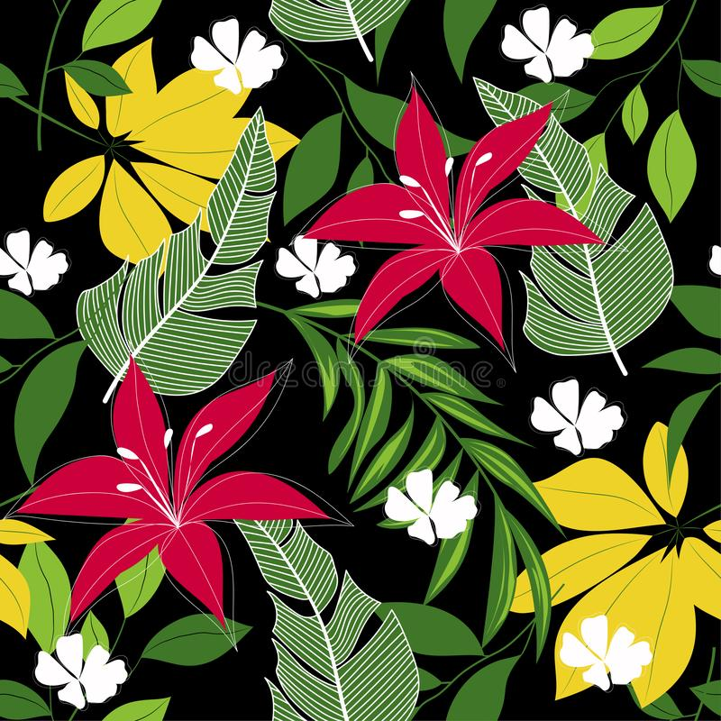 Trend abstract seamless pattern with colorful tropical leaves and plants. Vector design. Jungle print. Floral background. Printing. And textiles. Exotic tropics stock illustration