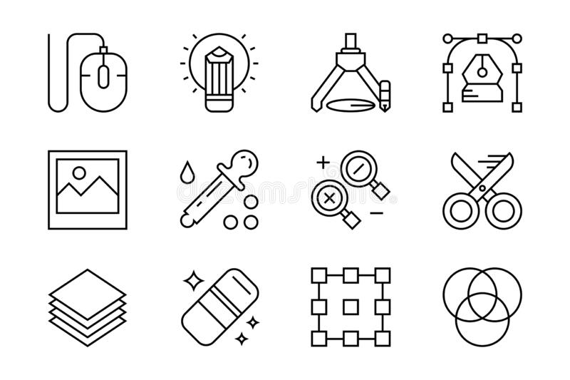 Set of flat line icons for graphic design and creative industries. Black and white icons with geometric doodle style stock illustration