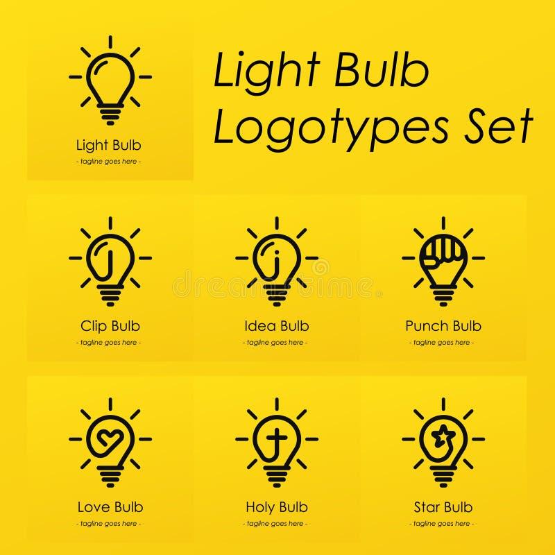 Light bulb symbol logotypes set with creative ideas, star, cross, punch, love heart, idea, clip symbols in light bulb. Vector illustration set stock illustration