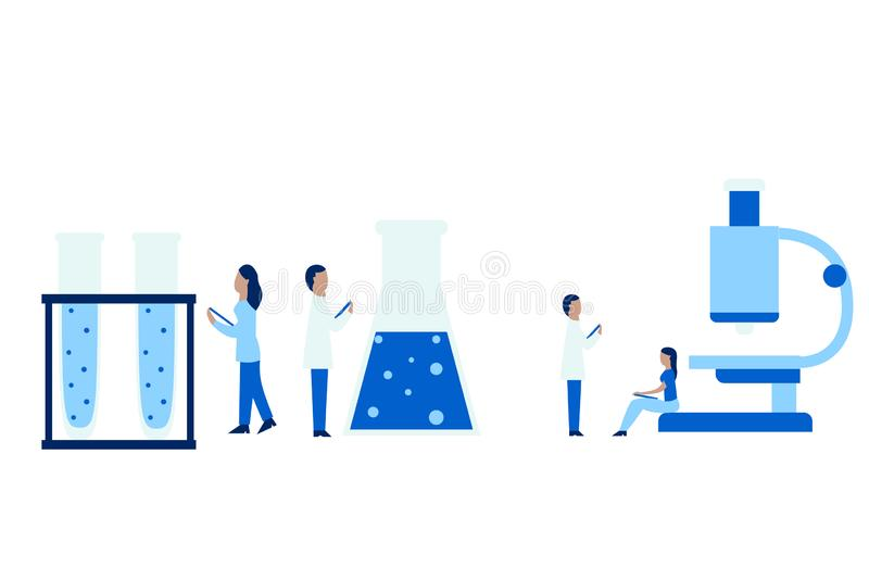 Medical vector illustration. Medical personal looking at giant test tube and flask. Doctor working with microscope. royalty free illustration