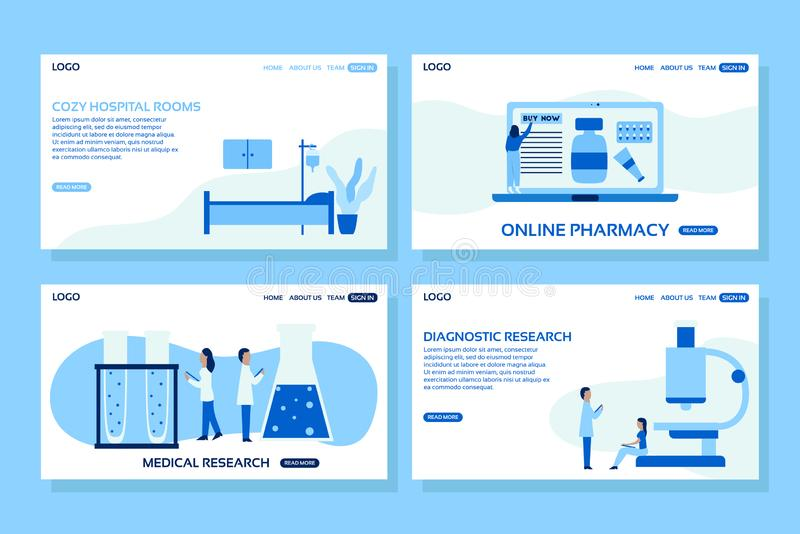 Medical web page concepts. Web page design templates set of hospital room, online pharmacy, medical and diagnostic research. stock illustration