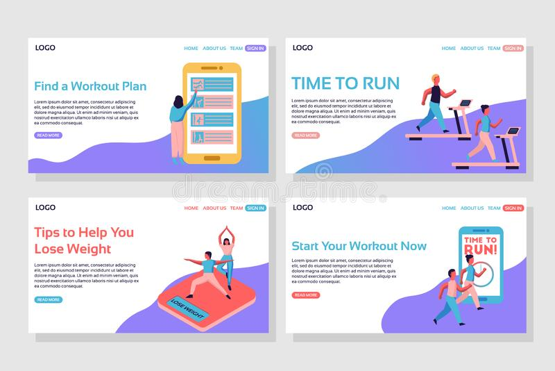 Woman choosing workout plan on giant phone, people running on treadmill, people on isometric scales, time to run web page. royalty free illustration