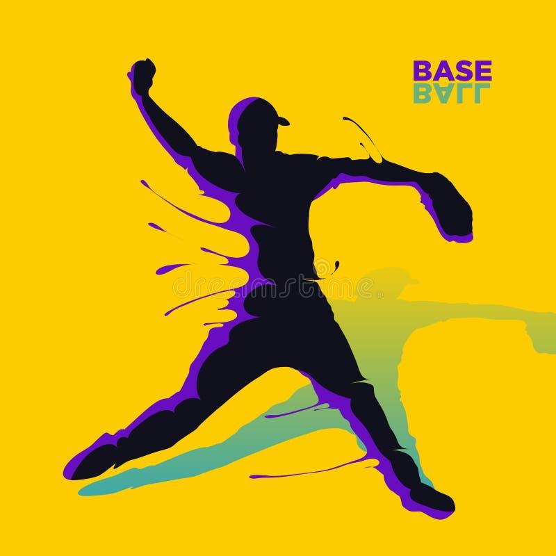 Baseball splash silhouette royalty free illustration