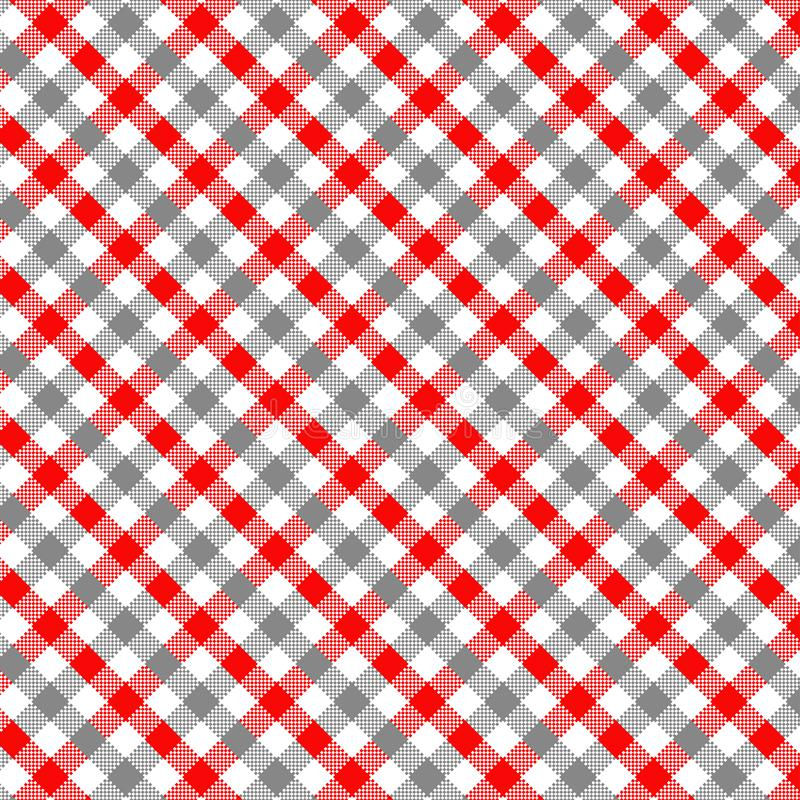 Grey and Red Gingham pattern. Texture for plaid, tablecloths, clothes, shirts, dresses, paper, bedding, blankets, quilts and other textile products. Vector stock illustration