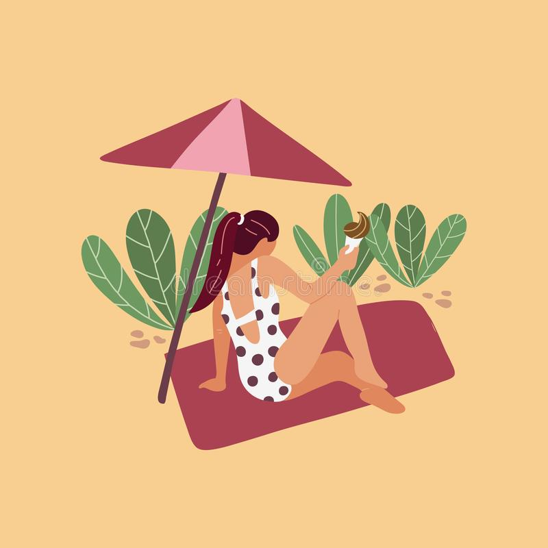 Girl with ice cream on the beach. Summer time, tourism. Flat cartoon vector illustration. Summer time, tourism. Flat cartoon vector illustration royalty free illustration