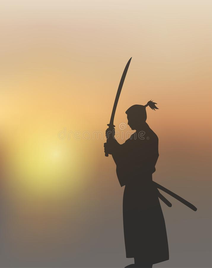 Japanese Swordsman Under The Sun.  royalty free illustration