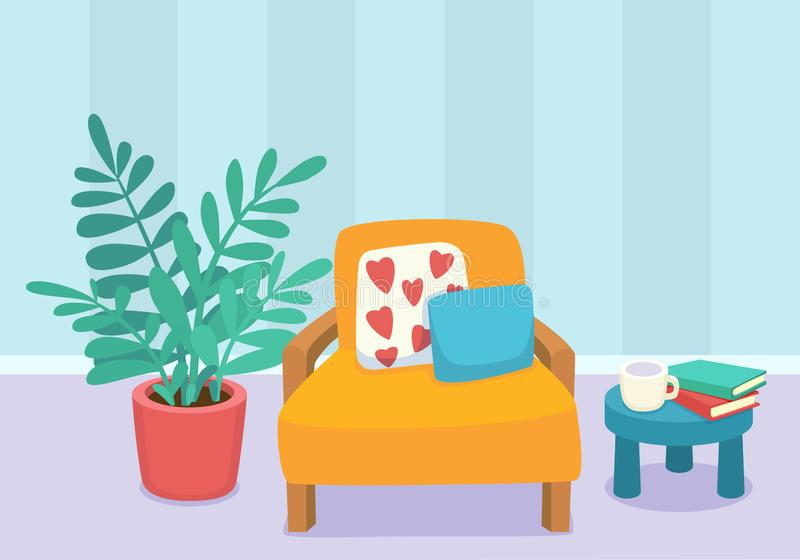 Living room interior design with furniture: chair, pillows, plant and table with books and cup. Modern design interior. Flat style vector illustration stock illustration