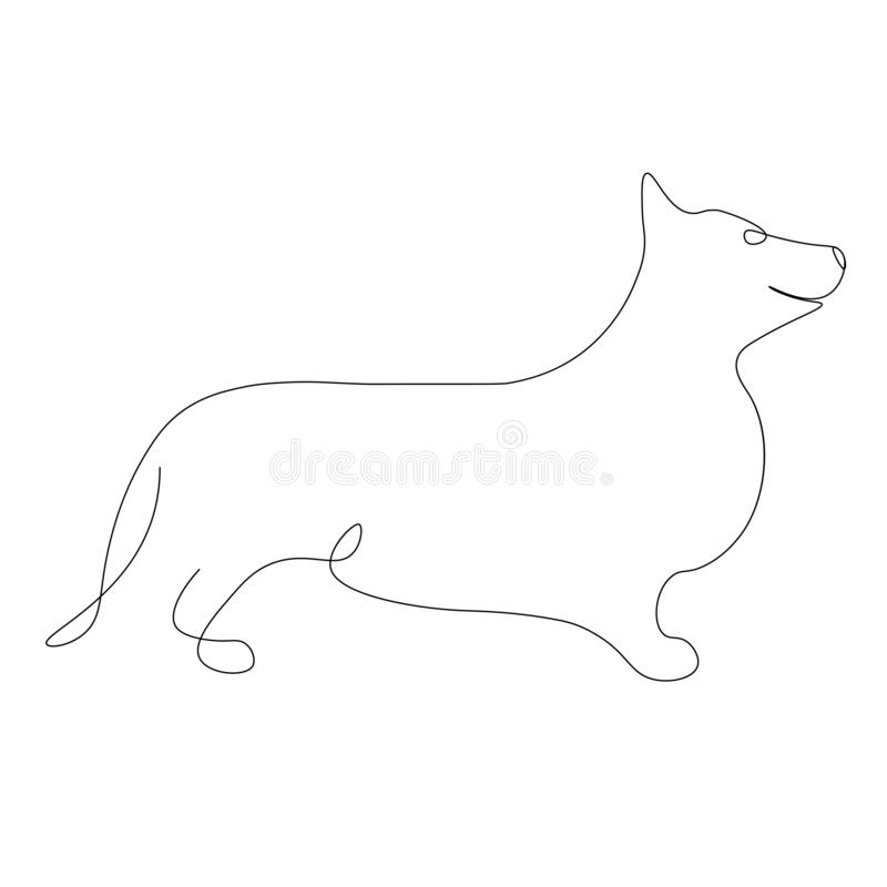 Dog corgi silhouette vector royalty free illustration
