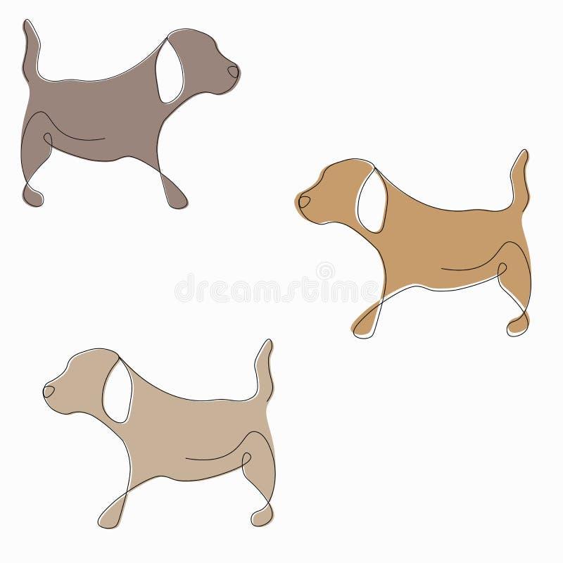Cartoon pattern with cute puppy, vector. Illustration stock illustration