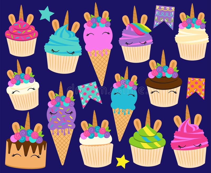 Cute Vector Collection of Unicorn Themed Desserts and Birthday Decorations royalty free illustration