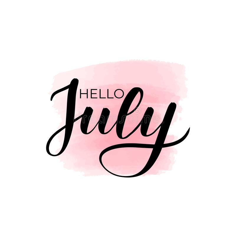 Lettering hello July. Handwritten brush lettering hello July. Vector calligraphy illustration with pink watercolor stain on background. Textile graphic, t-shirt stock illustration