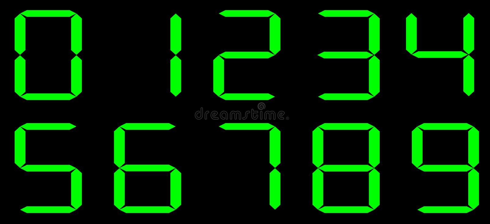 Vector Calculator digital numbers. Black background with green numbers. royalty free illustration