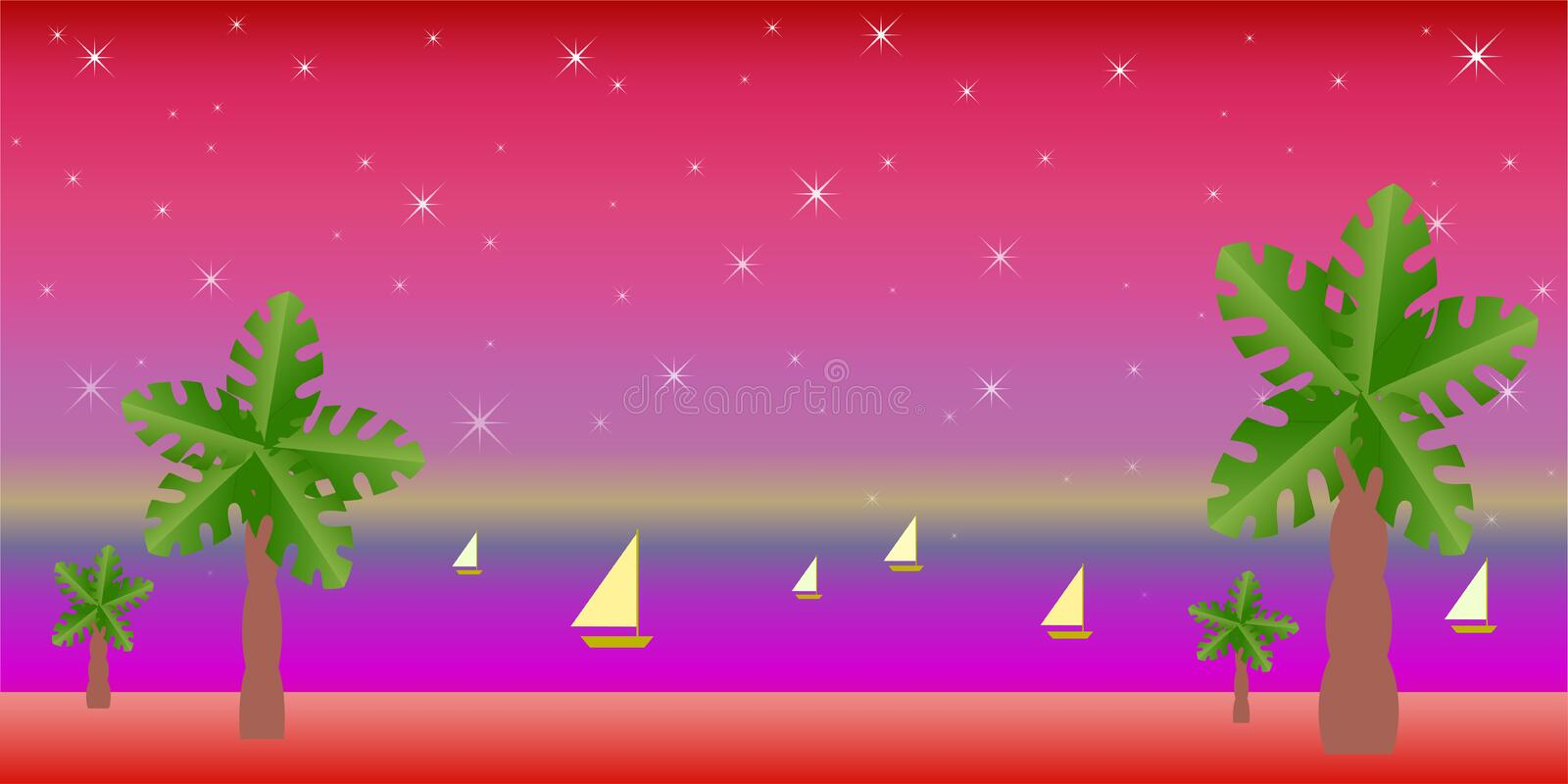Tropical landscape, moon, yachts on the background of the dawn starry sky royalty free illustration