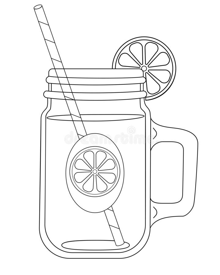 Summer drinks for a healthy lifestyle - juice, fresh, craft drinks and fruit water. A bottle stock illustration