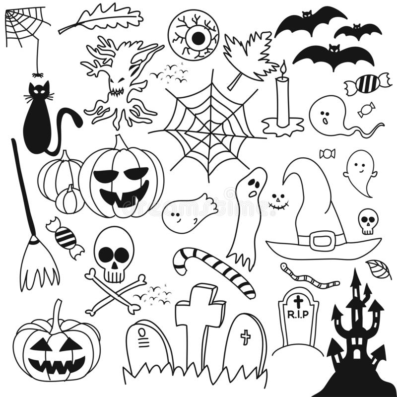 Halloween overlays, doodle design set. Retro badges. Hand drawn isolated emblem with characters. royalty free illustration
