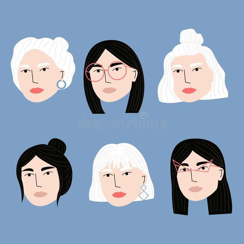 Same one woman drawn with different hairstyles or haircuts, glasses and earrings. Cartoon woman character. vector illustration