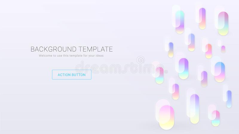 Light background template with colorful gradient egglike shapes stock illustration