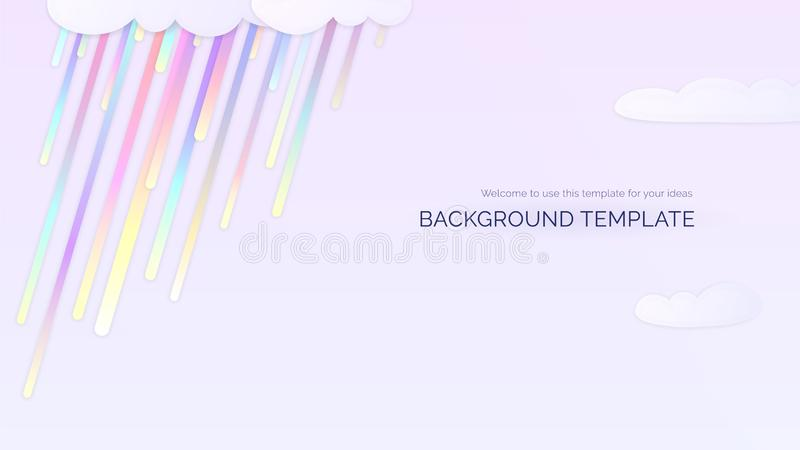 Light background template with rainbow colorful gradient rain drops and clouds vector illustration