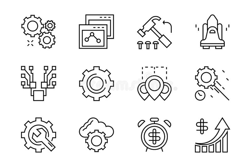Set of flat line icons for operational, management, leader and business. Black and white icons with geometric doodle style stock illustration