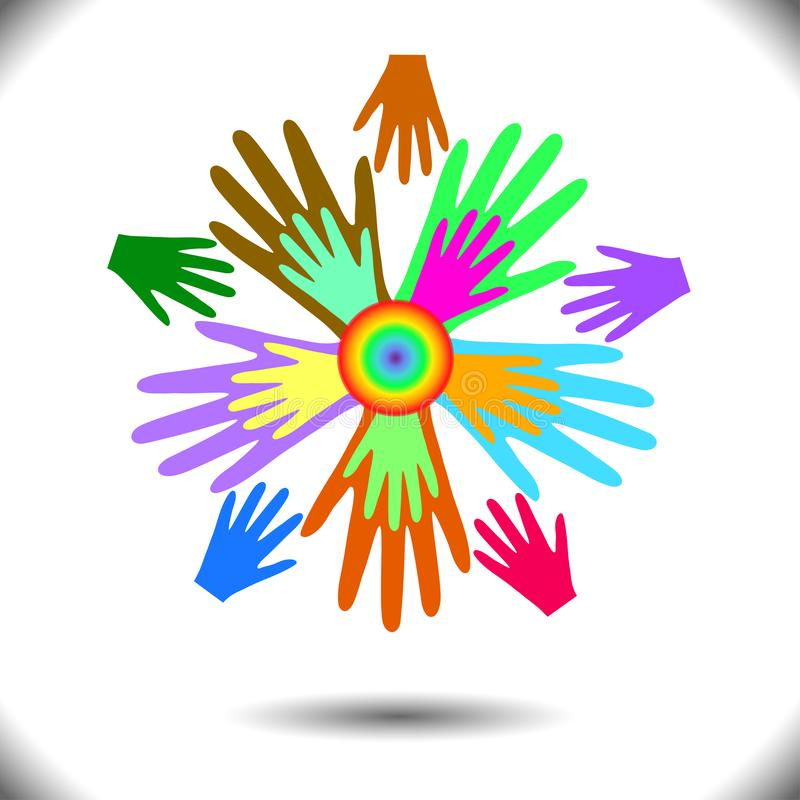 Colorful icons of people`s hands, like flower petals, concept of togetherness, mutual aid, fraternity, team royalty free illustration