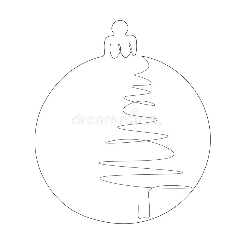 Christmas ball with ornament on white background line draw, vector. Illustration stock illustration