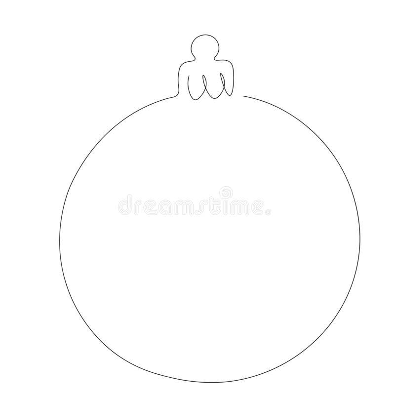 Christmas ball line draw, vector. Illustration royalty free illustration