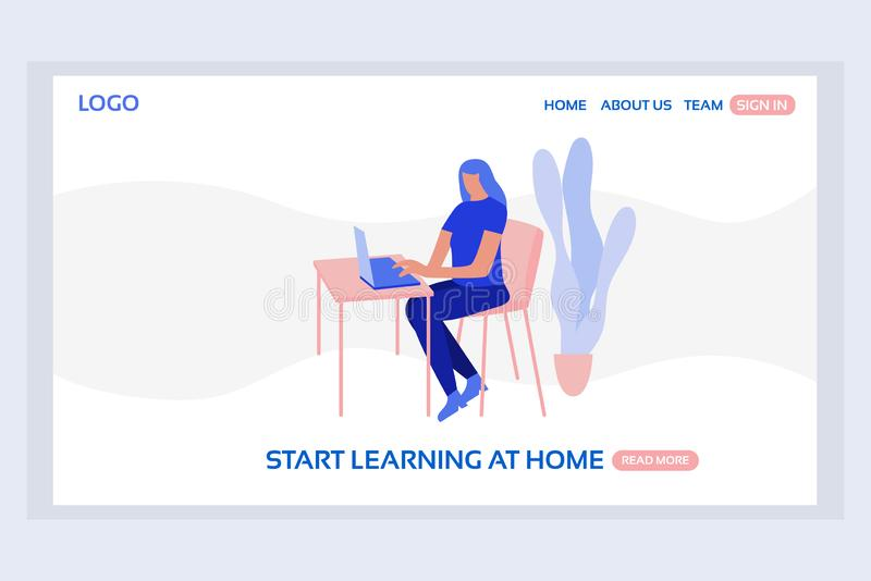 Online education web page concepts. Web page design templates of start learning at home. Modern vector illustration designs for website development vector illustration