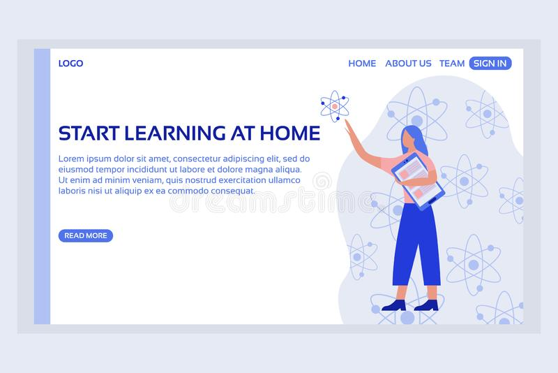 Online education web page concepts. Web page design templates of start learning at home. Modern vector illustration designs for website development stock illustration