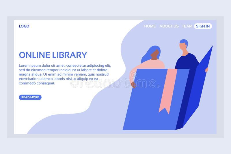 Online education web page concepts. Web page design templates of online library. Modern vector illustration designs for website development stock illustration