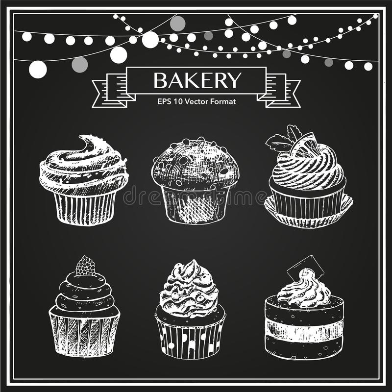 Sketch of sweet baked goods, muffins,cupcakes. Black and white vector hand drawn sketch illustration of  sweet pastry desserts, cupcakes, muffins, little cakes royalty free illustration