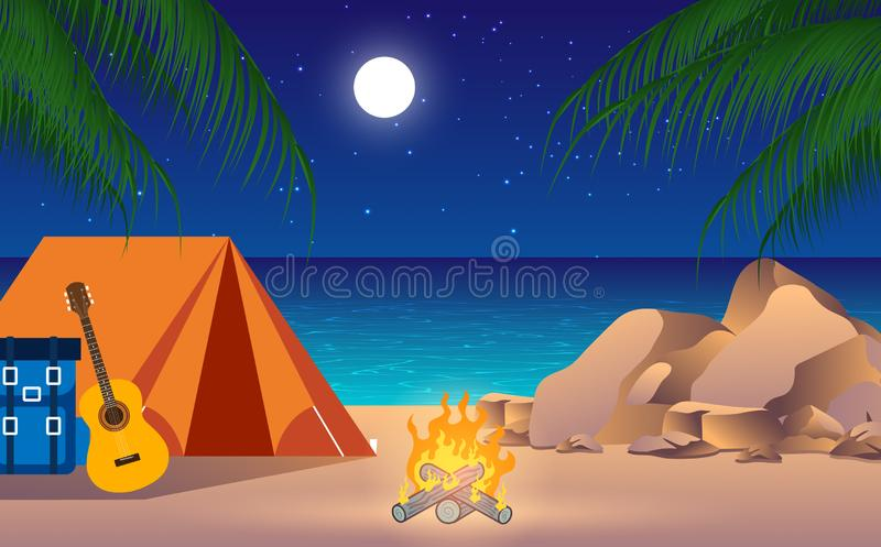 Happy Family Camping With Campfire At Night Stock Vector