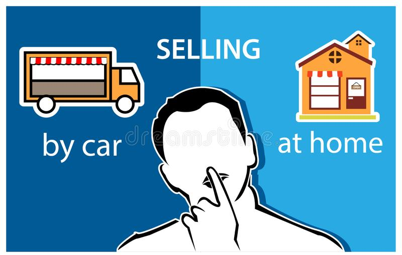 People and choices between selling by car or shop. Flat vector illustration. vector illustration