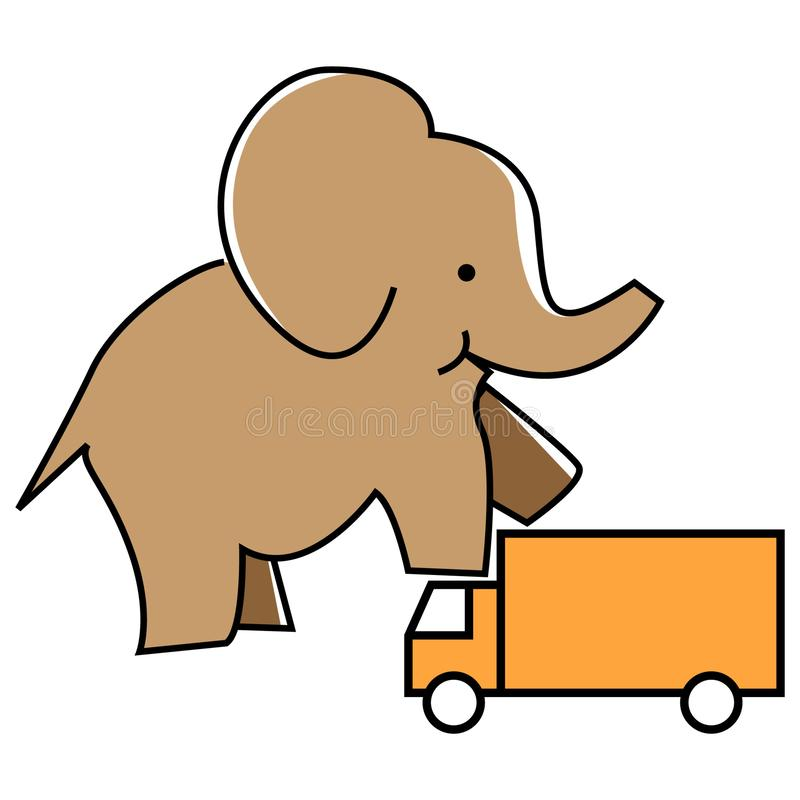 Elephant stepped on the truck. Illustration of car protection. stock illustration