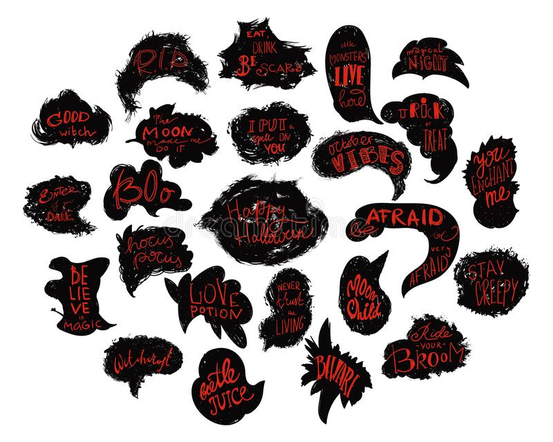Happy Halloween. Grunge speech bubbles with Halloween quotes lettering set. Design elements, logos, badges, labels, stickers. Hand drawn vector illustration stock illustration