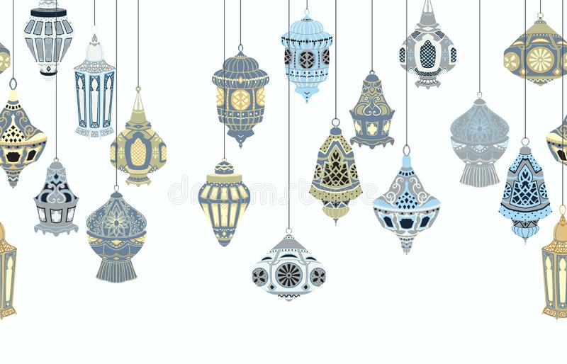 Seamless border with hanging Arabic lanterns. Collection of traditional oriental lamps with national floral ornament. Isolated obj stock illustration