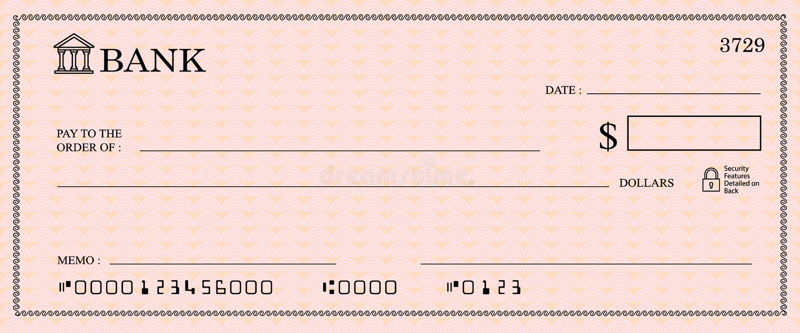 Blank bank Cheque vector illustration