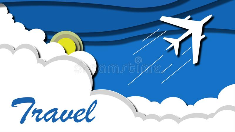 Airplane flying above tropical sea at sunset royalty free illustration
