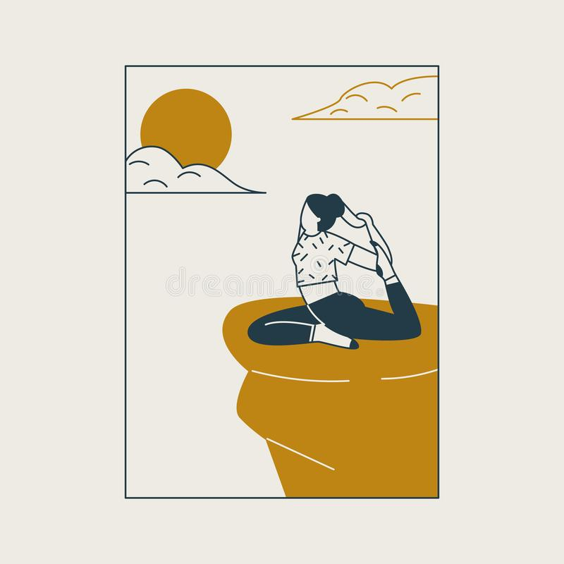 Young woman sitting in yoga posture and meditating. Girl doing aerobics exercise and meditation in mountains. vector illustration